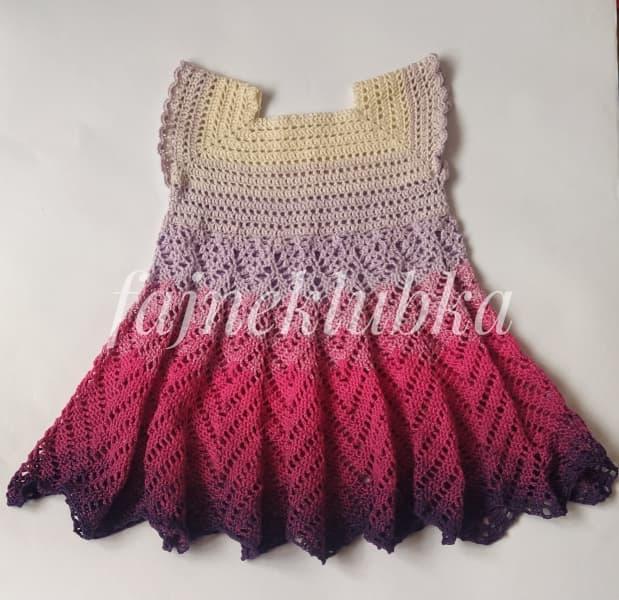Háčkované šaty velikost 116, Fajne Klubka